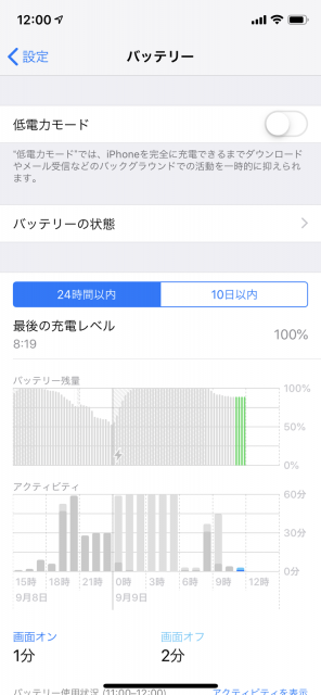 IOSバッテリー残量確認
